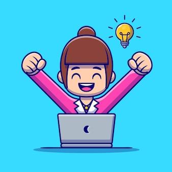 Employé de femme heureuse avec dessin animé pour ordinateur portable. concept d'icône de technologie de personnes isolé. style de bande dessinée plat