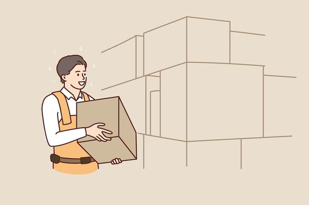 Employé d'homme avec le travail de paquet sur l'entrepôt