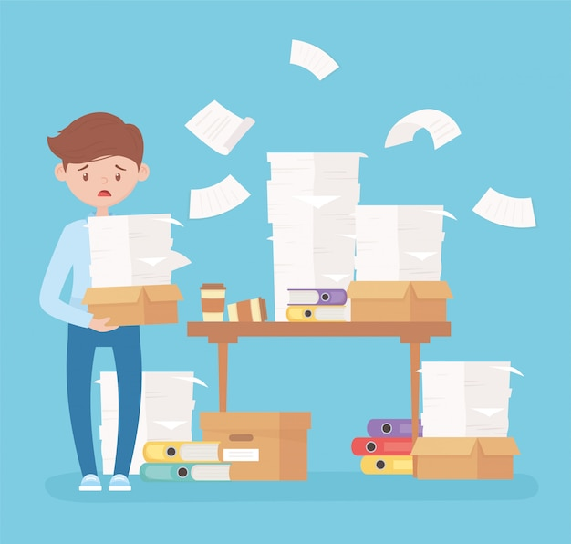 Employé inquiet papiers bureau avec des feuilles de reliures stress bureau