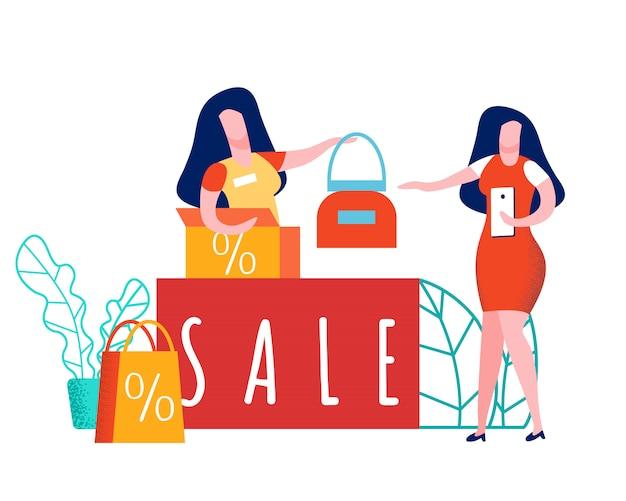 Employé de magasin et client illustration plate