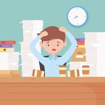 Employé avec les mains dans la tête inquiet a souligné le bureau avec