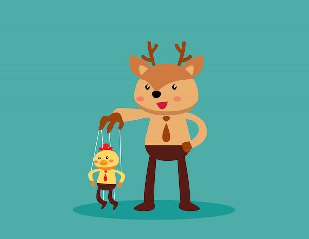 Employé marionnette contrôlant un animal boss