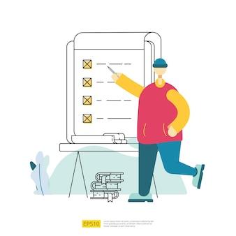 L'employé ouvrier fait l'organisation de la liste des tâches à bord. gestion de plan de liste de contrôle d'entreprise avec caractère d'homme d'affaires. questionnaire enquête concept vector illustration avec style plat