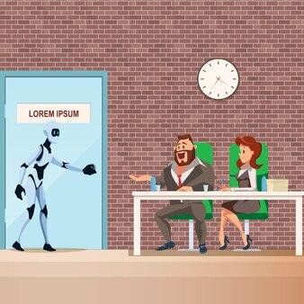 Un employé de robot entre dans la porte pour un entretien d'embauche
