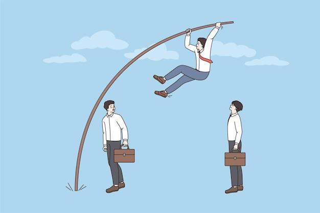 Un employé saute sur la victoire au saut à la perche des concurrents
