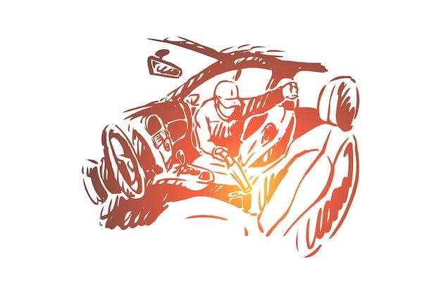 Employé de station nettoyage illustration intérieure de voiture