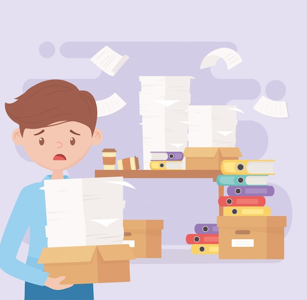 Employé stressé avec boîte et papiers dans la frustration de travail de bureau