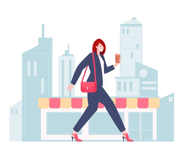Employée de bureau marchant dans un design plat