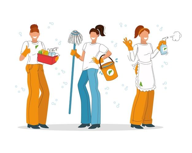 Employées d'une entreprise de nettoyage sur fond blanc. femmes de ménage. illustration vectorielle.