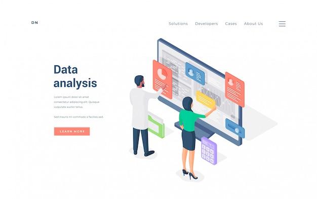 Employés de bureau, analyse des données sur l'illustration de l'ordinateur.