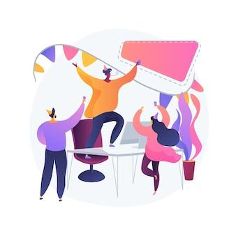 Employés de bureau, collègues s'amusant ensemble. fête d'entreprise, célébration d'événements spéciaux, succès commercial. personnel de l'entreprise, collègues en chapeaux de fête.