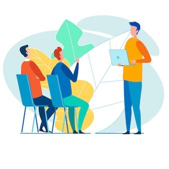 Les employés de bureau d'équipe discutent activement d'un nouveau projet d'entreprise