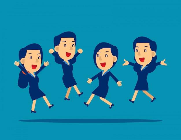 Employés de bureau heureux de sauter