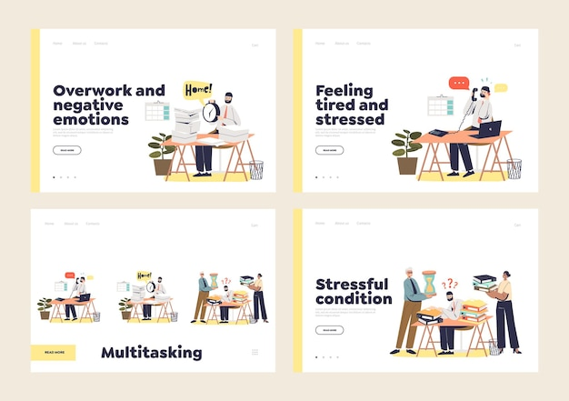 Employés de bureau occupés, multitâches et surchargés de travail