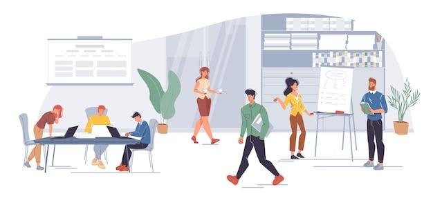 Employés de bureau de personnages de dessins animés, employés occupés