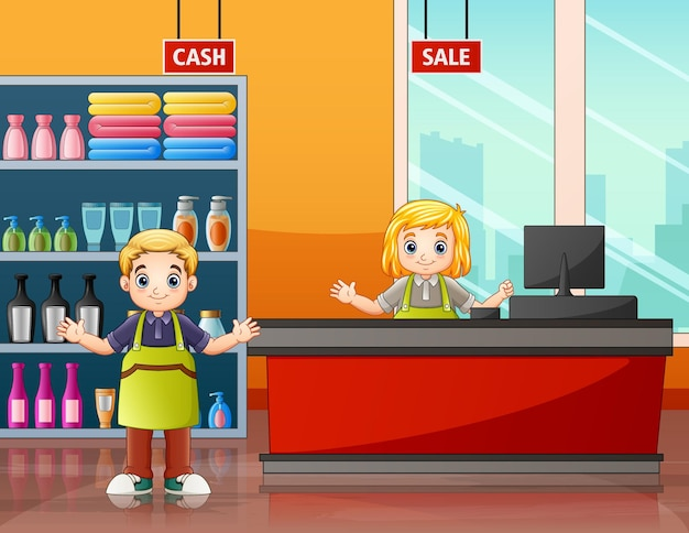 Les employés du supermarché dans l'illustration du caissier