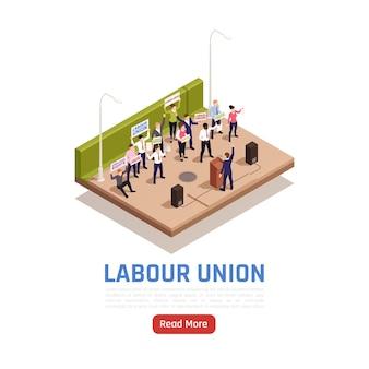 Employés du syndicat en grève prononçant un discours tenant des bannières luttant pour leurs droits illustration isométrique