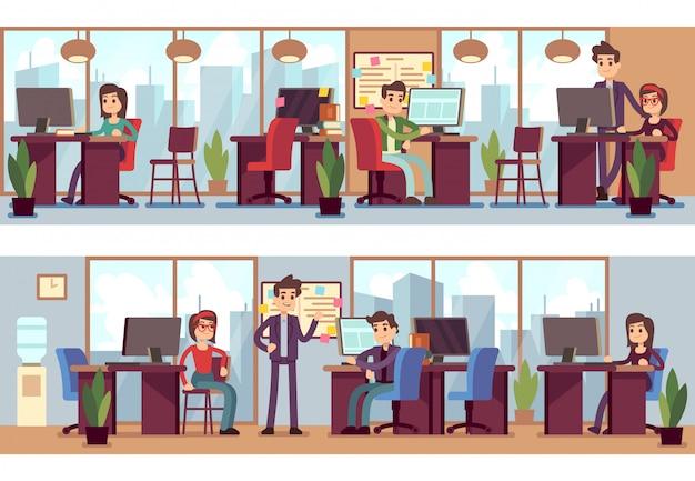 Employés de l'entreprise, collègues de travail en illustration vectorielle intérieur de bureau moderne