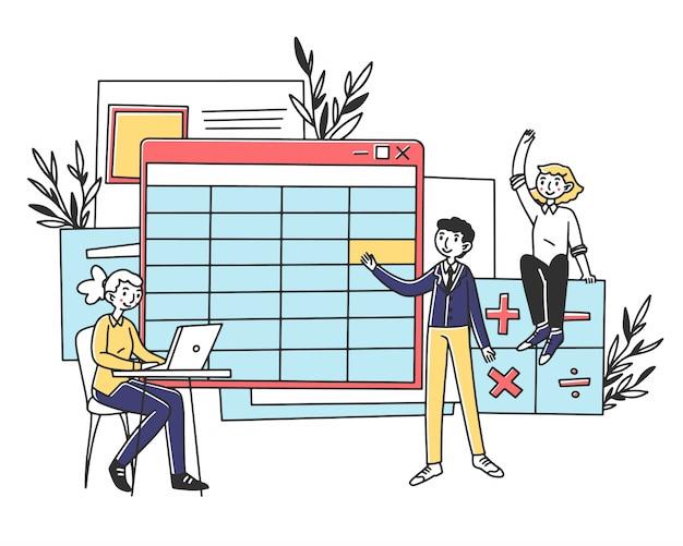 Employés établissant un rapport de comptabilité d'entreprise