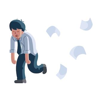 Employés fatigués laissez le travail derrière