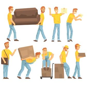 Employés de livraison et de déménagement transportant des objets lourds