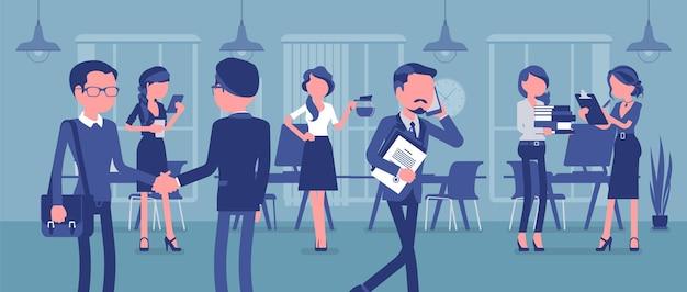 Employés Occupés Au Bureau Vecteur Premium