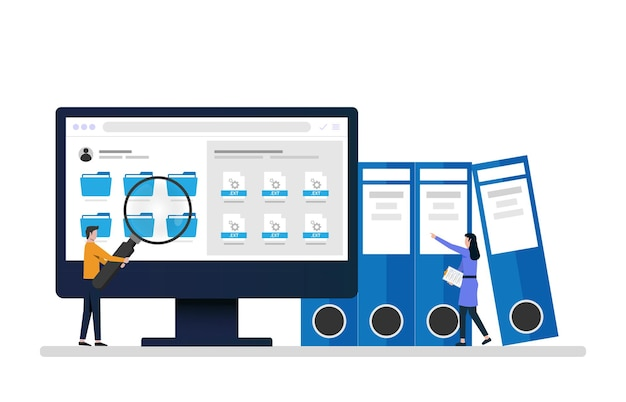 Les employés recherchent et indexent les documents des fichiers. gestionnaire de fichiers et illustration du concept de stockage de données.