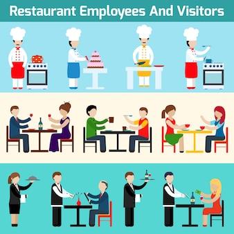 Employés de restaurant et visiteurs