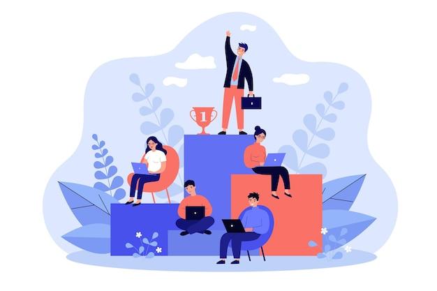 Employés travaillant et en compétition pour réussir sur l'échelle de croissance de carrière