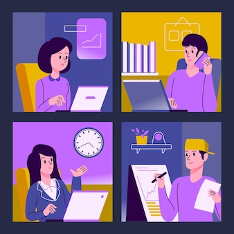 Employés travaillant à domicile