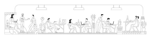 Employés travaillant en ligne mince de bureau créatif. travailleurs au contour du centre d'affaires