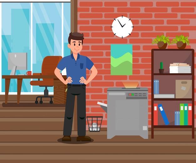 Employeur, debout, près, copie, machine, illustration