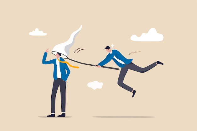 Employeur de ressources humaines utilisant le net capturant le talent de l'homme d'affaires intelligent