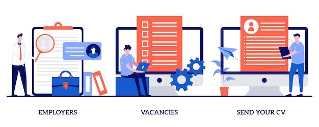 Employeurs, postes vacants, envoyez votre concept de cv avec illustration de petites personnes