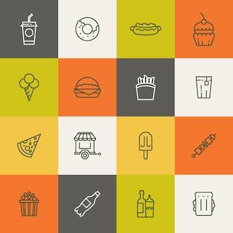 Emporter des icônes linéaires de nourriture