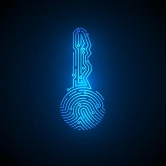 Empreinte digitale en forme de clé avec fond de circuit. concept d'identification de la cybersécurité. technologie de crypto-monnaie de sécurité. système futuriste d'autorisation. illustration vectorielle