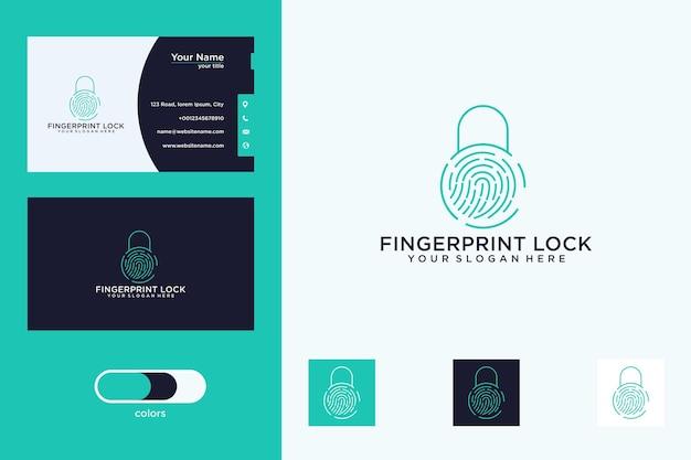 Empreinte digitale avec logo de cadenas et carte de visite