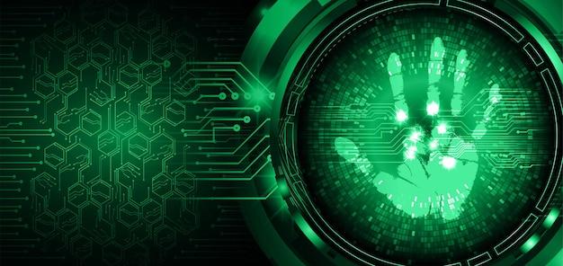 Empreinte digitale réseau cyber sécurité arrière plan main