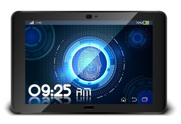 Empreinte digitale sur tablette isolée sur fond blanc