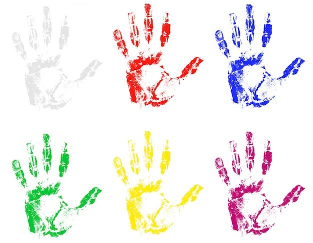 Empreinte de main de différentes couleurs.