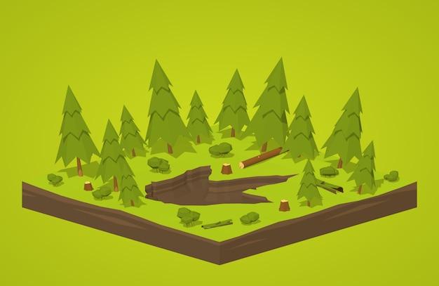 Empreinte de monstre isométrique 3d dans la forêt