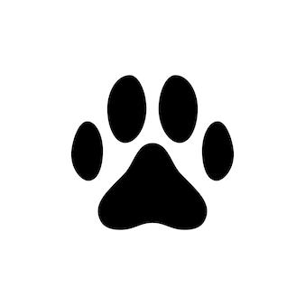 Empreinte de patte d'animal noir isolé sur fond blanc. illustration vectorielle.