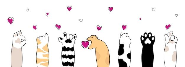 Empreinte de patte de chat. collection de divers pieds d'animaux domestiques de dessin animé mignon isolé sur fond blanc.