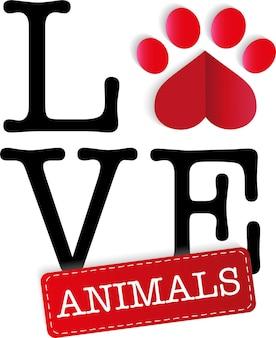 Empreinte de patte de vecteur d'amour animal comme meilleurs amis de coeur