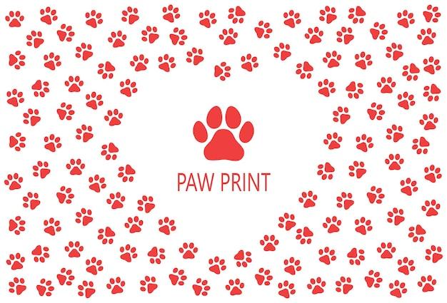Empreintes colorées de modèle d'un chien ou d'un chat. vecteur de silhouette isolé.