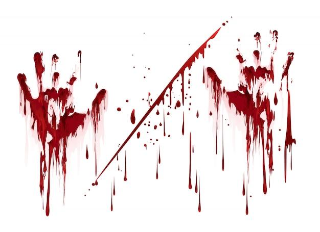 Empreintes de mains sanglantes avec des gouttes de sang