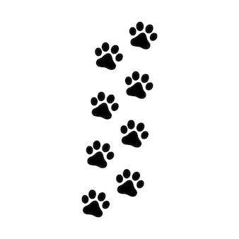 Empreintes de pas de chien ou de chat. silhouette isolée de vecteur.