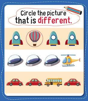 Encerclez l'image qui est une activité différente pour les enfants