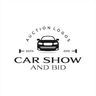 Enchère et exposition de voitures de style vintage avec logo d'enchère