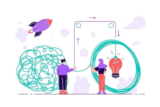 Enchevêtrement emmêlé et démêlé. métaphore abstraite. concept de résolution de problèmes commerciaux. illustration de style plat pour page web, médias sociaux, documents, cartes, affiches travail d'équipe, coworking, partenariat.